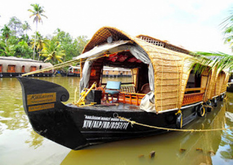 Houseboat cruise in the backwaters of Kerala.