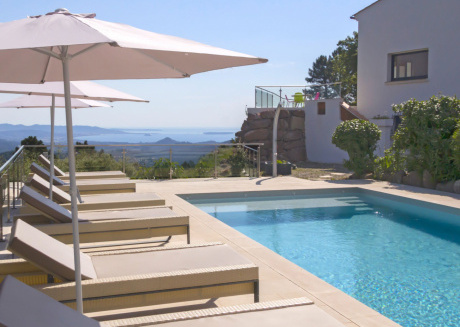 Luxurious, modern villa with private heated pool and panoramic sea views